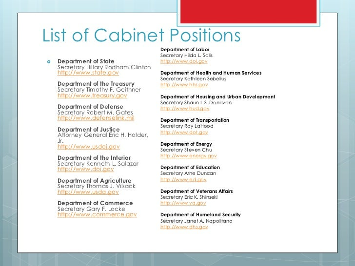 Cabinet Positions In Us - thesecretconsul.com