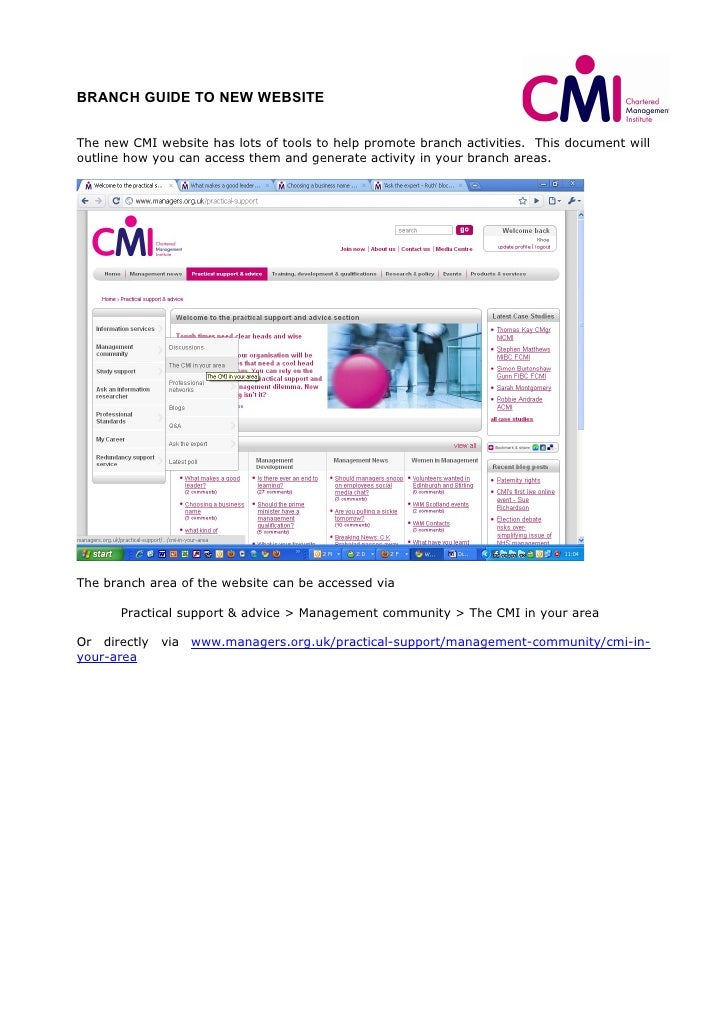 BRANCH GUIDE TO NEW WEBSITE   The new CMI website has lots of tools to help promote branch activities. This document will ...