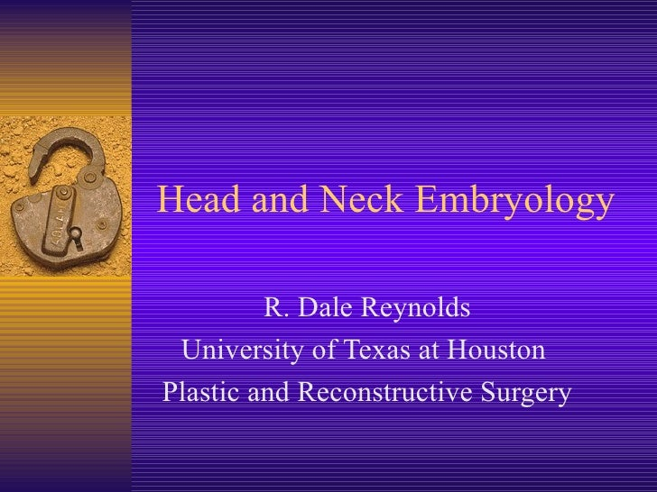 Head and Neck Embryology R. Dale Reynolds University of Texas at Houston  Plastic and Reconstructive Surgery