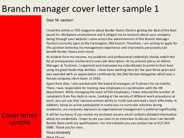 Branch manager cover letter