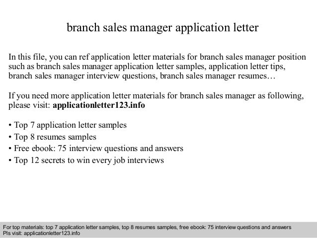 Branch sales manager application letter