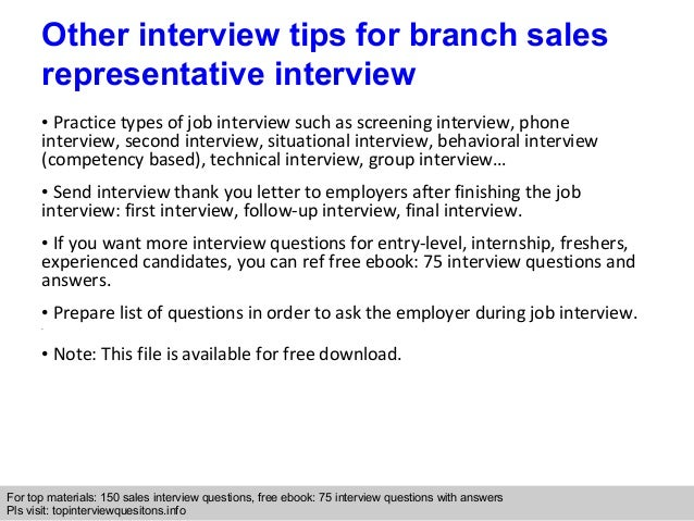 Branch sales representative interview questions and answers 10 interview questions fandeluxe Gallery