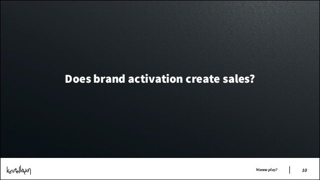 Does brand activation create sales?  Wanna play?  !10