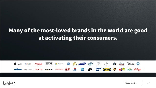 Many of the most-loved brands in the world are good at activating their consumers.  Wanna play?  !12
