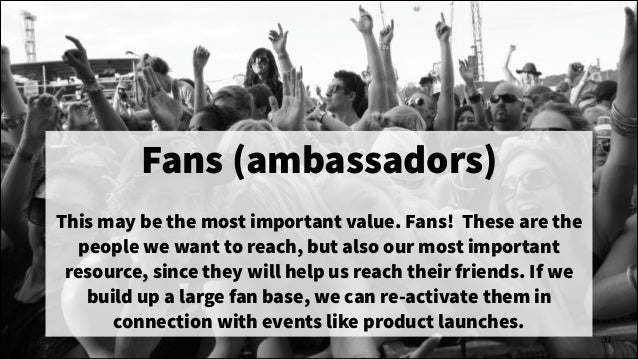 Fans (ambassadors) !  This may be the most important value. Fans! These are the people we want to reach, but also our most...