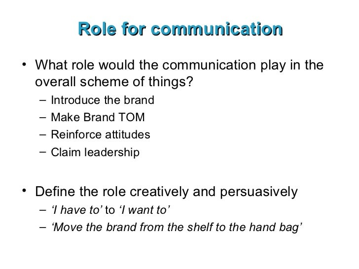 Role for communication <ul><li>What role would the communication play in the overall scheme of things? </li></ul><ul><ul><...
