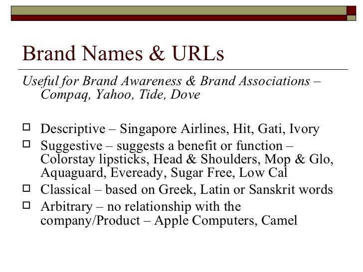 Brand Names & URLs <ul><li>Useful for Brand Awareness & Brand Associations – Compaq, Yahoo, Tide, Dove </li></ul><ul><li>D...