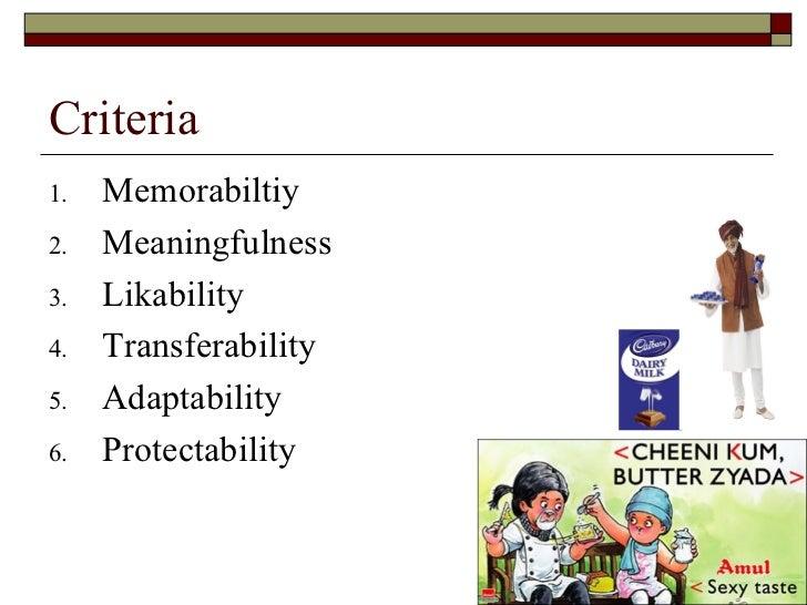 Criteria <ul><li>Memorabiltiy </li></ul><ul><li>Meaningfulness </li></ul><ul><li>Likability </li></ul><ul><li>Transferabil...