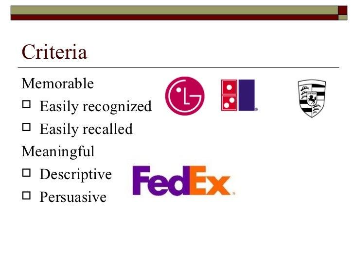Criteria <ul><li>Memorable  </li></ul><ul><li>Easily recognized </li></ul><ul><li>Easily recalled </li></ul><ul><li>Meanin...