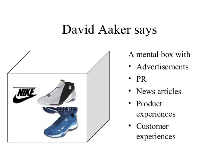 David Aaker says <ul><li>A mental box with </li></ul><ul><li>Advertisements </li></ul><ul><li>PR </li></ul><ul><li>News ar...