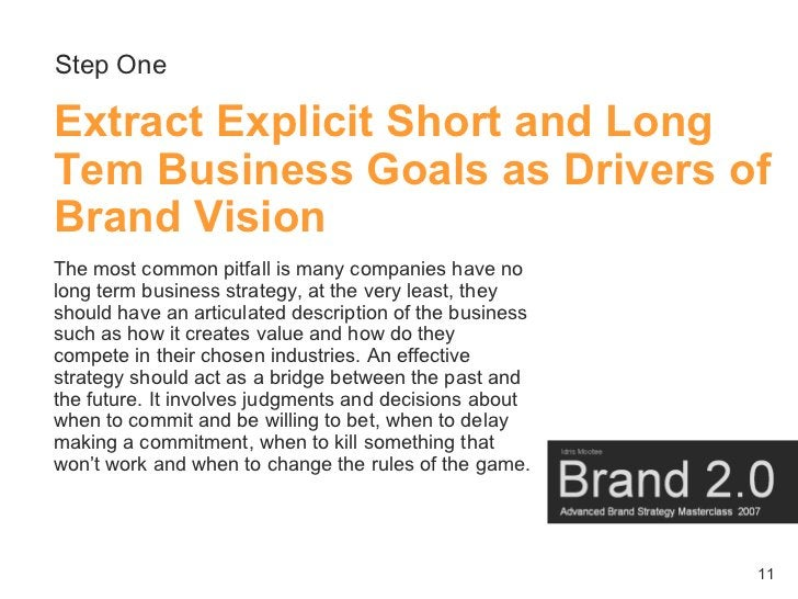 Step One  Extract Explicit Short and Long Tem Business Goals as Drivers of Brand Vision The most common pitfall is many co...