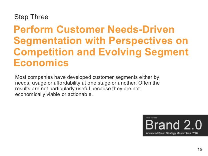 Step Three Perform Customer Needs-Driven Segmentation with Perspectives on Competition and Evolving Segment Economics Most...