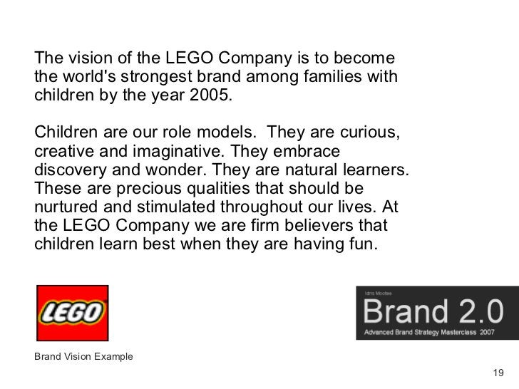 The vision of the LEGO Company is to become the world's strongest brand among families with children by the year 2005.  Ch...