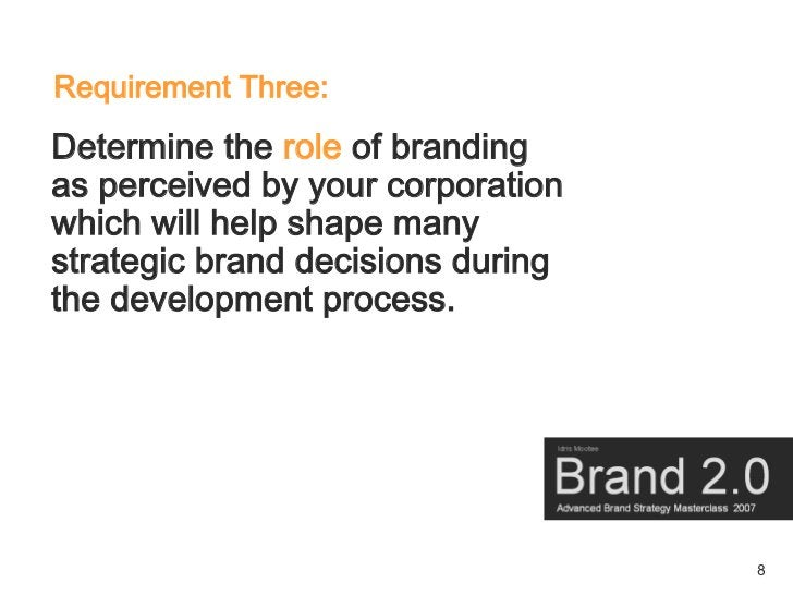 Requirement Three: Determine the role of branding as perceived by your corporation which will help shape many strategic br...