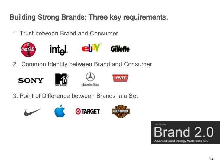 Building Strong Brands: Three key requirements.  1. Trust between Brand and Consumer     2. Common Identity between Brand ...