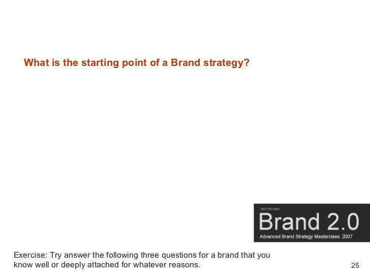 What is the starting point of a Brand strategy?     Exercise: Try answer the following three questions for a brand that yo...