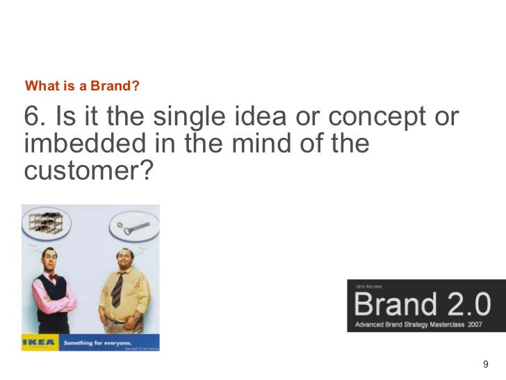 What is a Brand?  6. Is it the single idea or concept or imbedded in the mind of the customer?                            ...