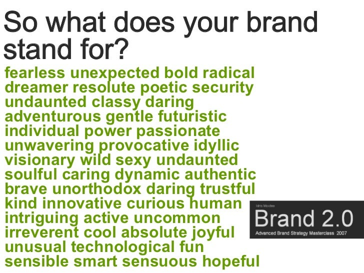 So what does your brand stand for? fearless unexpected bold radical dreamer resolute poetic security undaunted classy dari...
