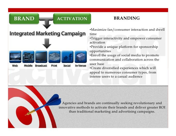 BRAND   ACTIVATION                        BRANDING                           •Maximize fan/consumer interaction and dwell ...