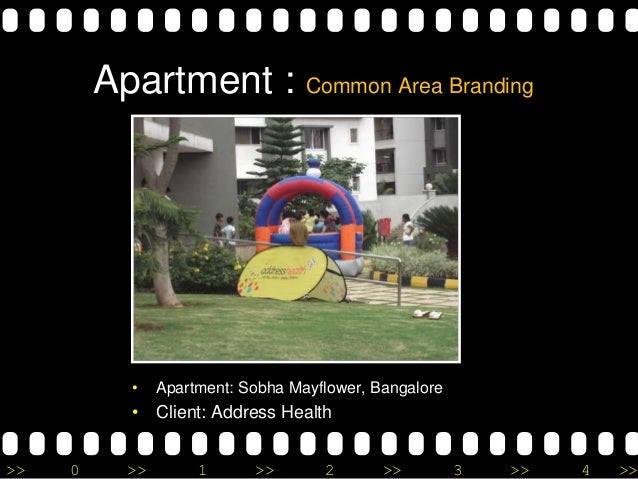 >> 0 >> 1 >> 2 >> 3 >> 4 >> Apartment : Common Area Branding • Apartment: Sobha Mayflower, Bangalore • Client: Address Hea...