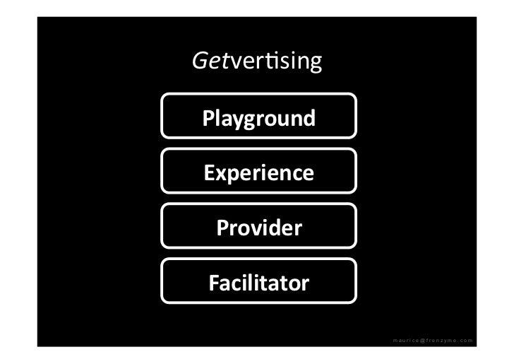 GetverQsing  Playground   Experience    Provider   Facilitator                  maurice@frenzyme.com