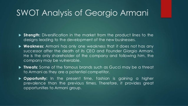 """marketing plan for brand of giorgio armani On the issue of succession planning and the ownership of the business, mr armani remains confident that he can continue for several more years, but """"i have built a world made of totally different brands — emporio armani, collezioni, privé— which have worked in time and i don't think it was confusing."""