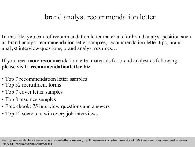 Brand analyst recommendation letter