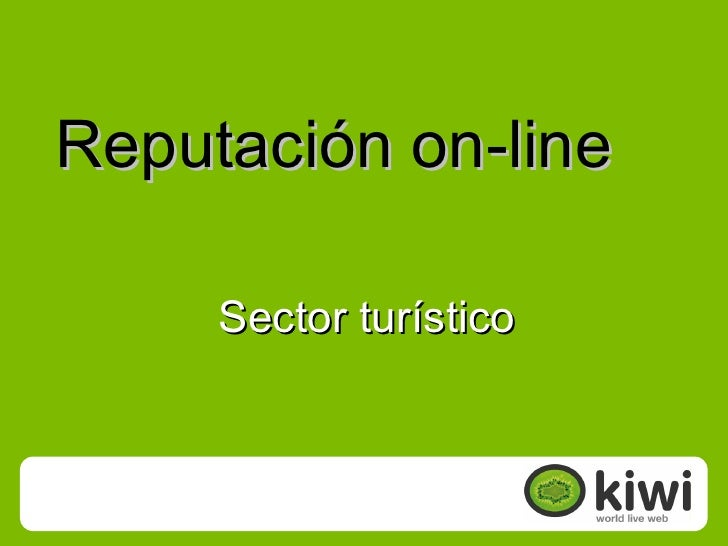 Reputación on-line       Sector turístico