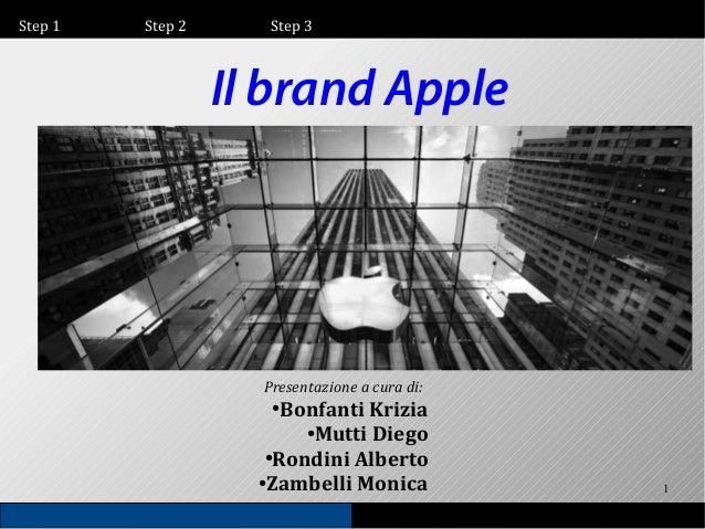 Step 1  Step 2  Step 3  Il brand Apple  Presentazione a cura di:  Bonfanti Krizia ● Mutti Diego ● Rondini Alberto ● Zambel...