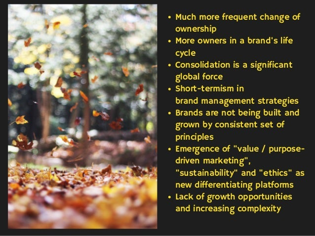 Much more frequent change of ownership More owners in a brand's life cycle Consolidation is a significant global force Sho...