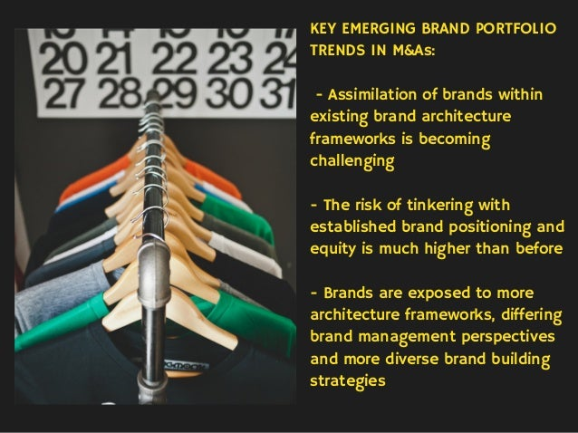 KEY EMERGING BRAND PORTFOLIO TRENDS IN M&As: - Assimilation of brands within existing brand architecture frameworks is bec...