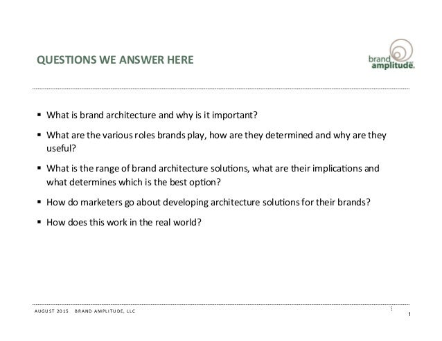 Assessing Your Brand Architecture August 2015 Slide 2