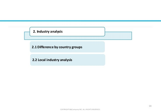 2.2 Local industry analysis 2.1 Difference by country groups 14 COPYRIGHT B&Company INC. ALL-RIGHTS RESERVED. 2. Industry ...