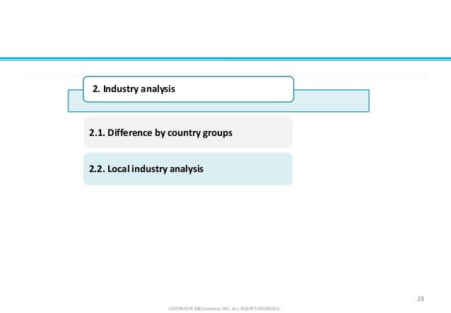 2.2. Local industry analysis 2.1. Difference by country groups 28 COPYRIGHT B&Company INC. ALL-RIGHTS RESERVED. 2. Industr...