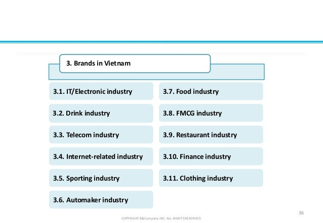 COPYRIGHT B&Company INC. ALL-RIGHTS RESERVED. 36 3. Brands in Vietnam FMCG3.2. Drink industry 3.3. Telecom industry 3.5. S...
