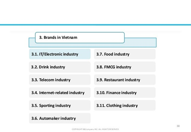 COPYRIGHT B&Company INC. ALL-RIGHTS RESERVED. 38 3. Brands in Vietnam FMCG3.2. Drink industry 3.3. Telecom industry 3.5. S...