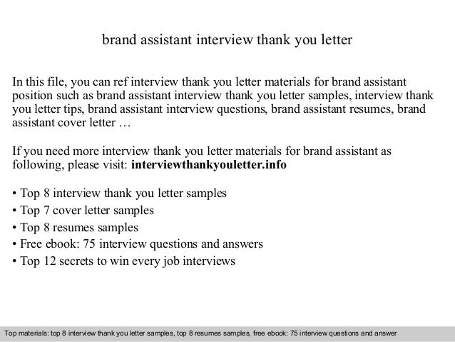 Brand Assistant Interview Thank You Letter In This File, You Can Ref  Interview Thank You ...