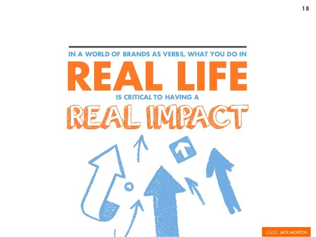 18 REAL LIFE REAL IMPACT IN A WORLD OF BRANDS AS VERBS, WHAT YOU DO IN IS CRITICAL TO HAVING A