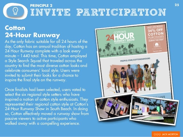 25PRINCIPLE 2 INVITE PARTICIPATION Cotton 24-Hour Runway As the only fabric suitable for all 24 hours of the day, Cotton h...