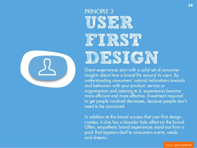 28 PRINCIPLE 3 USER FIRST DESIGNGreat experiences start with a solid set of consumer insights about how a brand fits around...