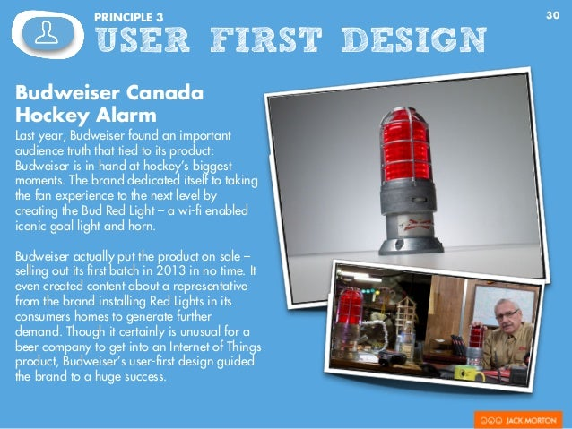 30PRINCIPLE 3 USER FIRST DESIGN Budweiser Canada Hockey Alarm Last year, Budweiser found an important audience truth that ...