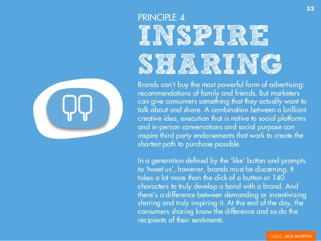 32 PRINCIPLE 4 INSPIRE SHARINGBrands can't buy the most powerful form of advertising: recommendations of family and friend...