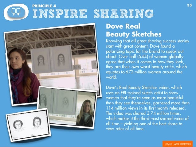 33PRINCIPLE 4 INSPIRE SHARING Dove Real Beauty Sketches Knowing that all great sharing success stories start with great co...
