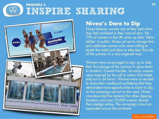 35PRINCIPLE 4 INSPIRE SHARING Nivea's Dare to Dip Nivea believes women are at their best when they feel confident in their ...