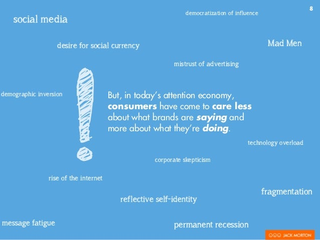 8 But, in today's attention economy, consumers have come to care less about what brands are saying and more about what the...