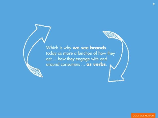 9 Which is why we see brands today as more a function of how they act ... how they engage with and around consumers ... as...
