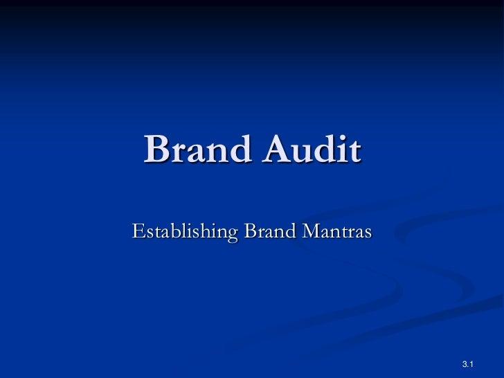Brand AuditEstablishing Brand Mantras                             3.1