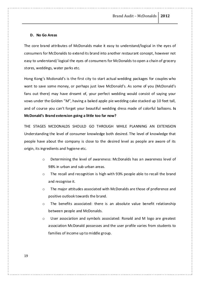 mc donalds brand essay The marketing mix of mcdonalds discusses the 4p's pf mcdonalds  it is  important when deciding on price to be fully aware of the brand and its.