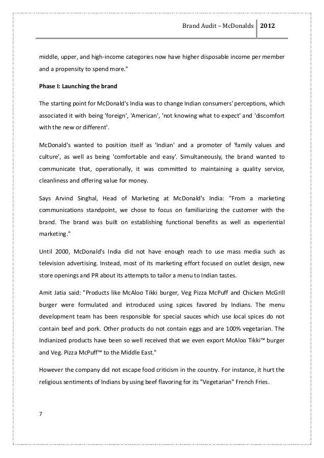 mcdonalds brand audit Mcdonalds business mission states the following mcdonalds brand mission is to from mkt 430 at illinois state university  marketing audit- mcdonalds.