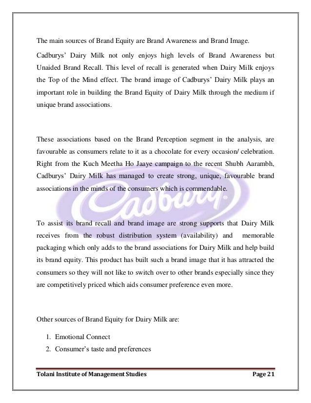 brand equity of cadbury • leading the growth of chocolate brands value and equity in the mea region, working with reputable global brands including cadbury, milka, toblerone and 5star to build brand personalities, develop communication and activation ideas, and create communication.